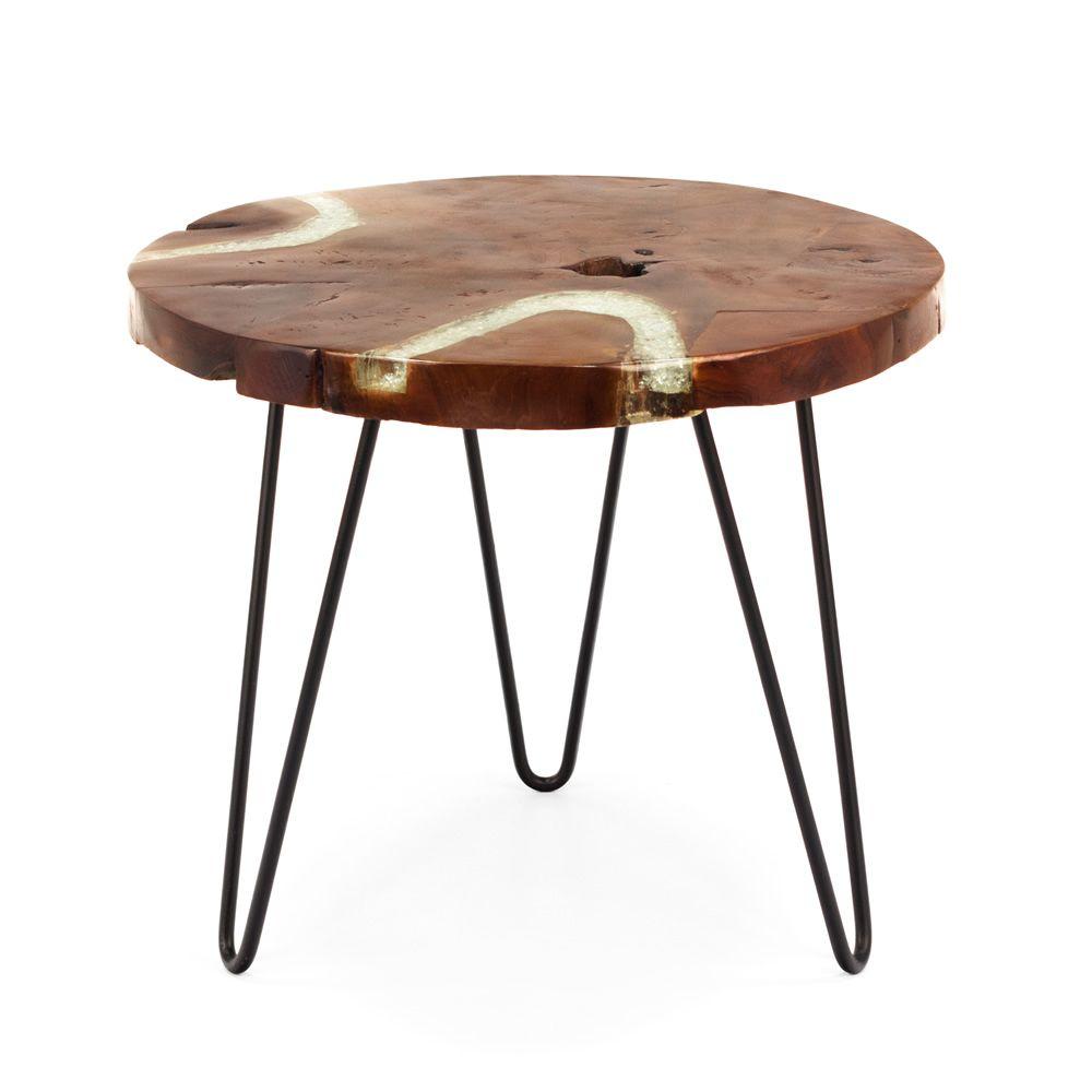 bangui designer couchtisch mit metallgestell und platte aus nat rlichem teakholz sediarreda. Black Bedroom Furniture Sets. Home Design Ideas