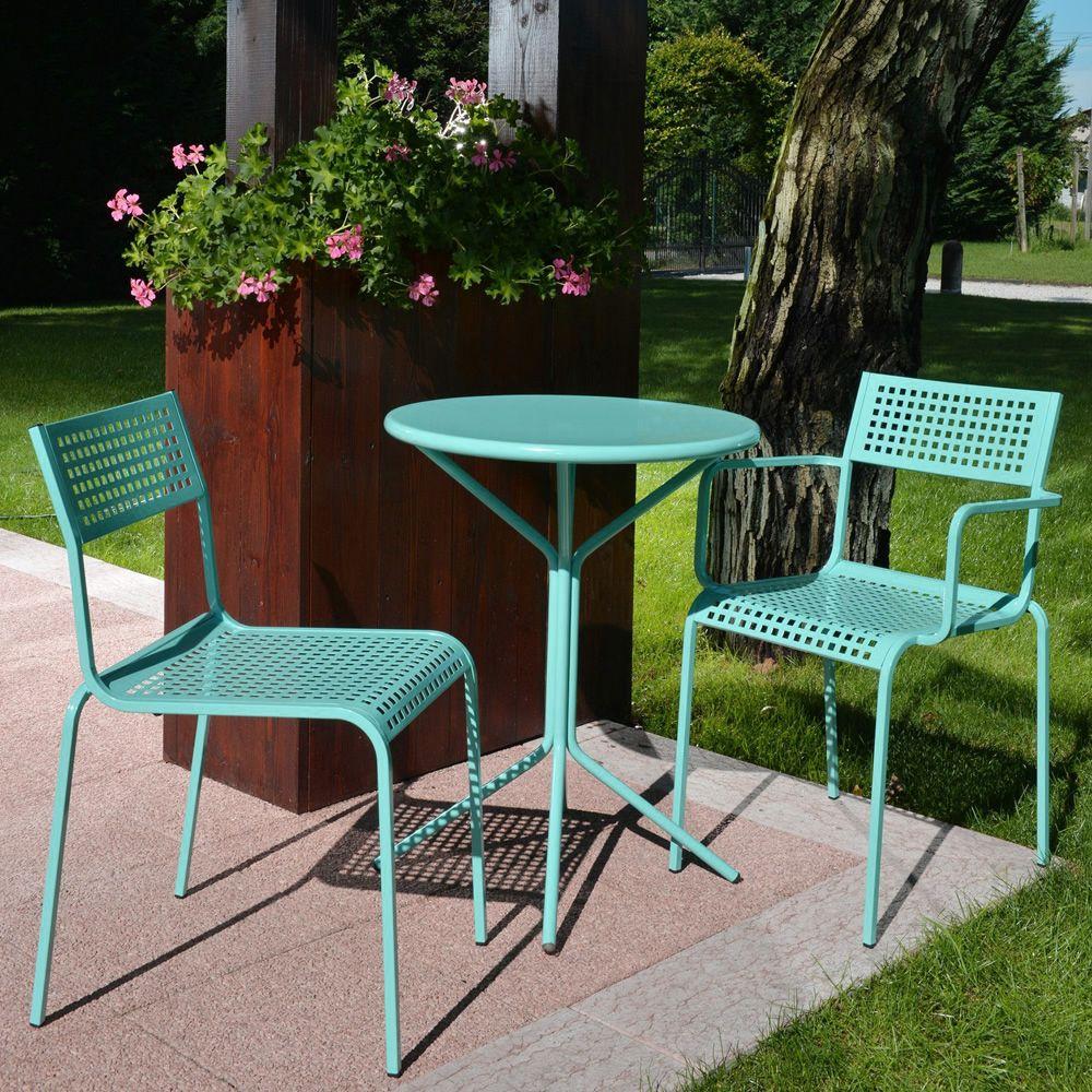 rig mesa redonda de metal lacado color azul cielo para exterior