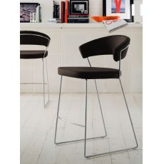 CS1087-GU New York - Calligaris stool, metal frame with padded seat in imitation leather, seat's height 65 cm