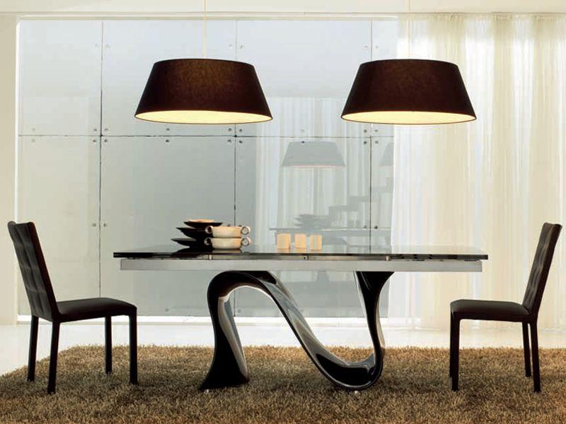 Wave n 8014 tavolo allungabile tonin casa in - Tavolo in vetro nero ...