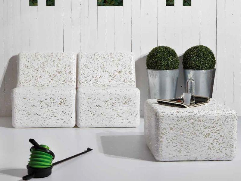 Zoe - Pouf in materiale plastico bianco o multicolour, anche per ...