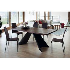 Tuile-F - Tavolo fisso Domitalia in metallo, piano in legno o marmo, 200 x 100 cm