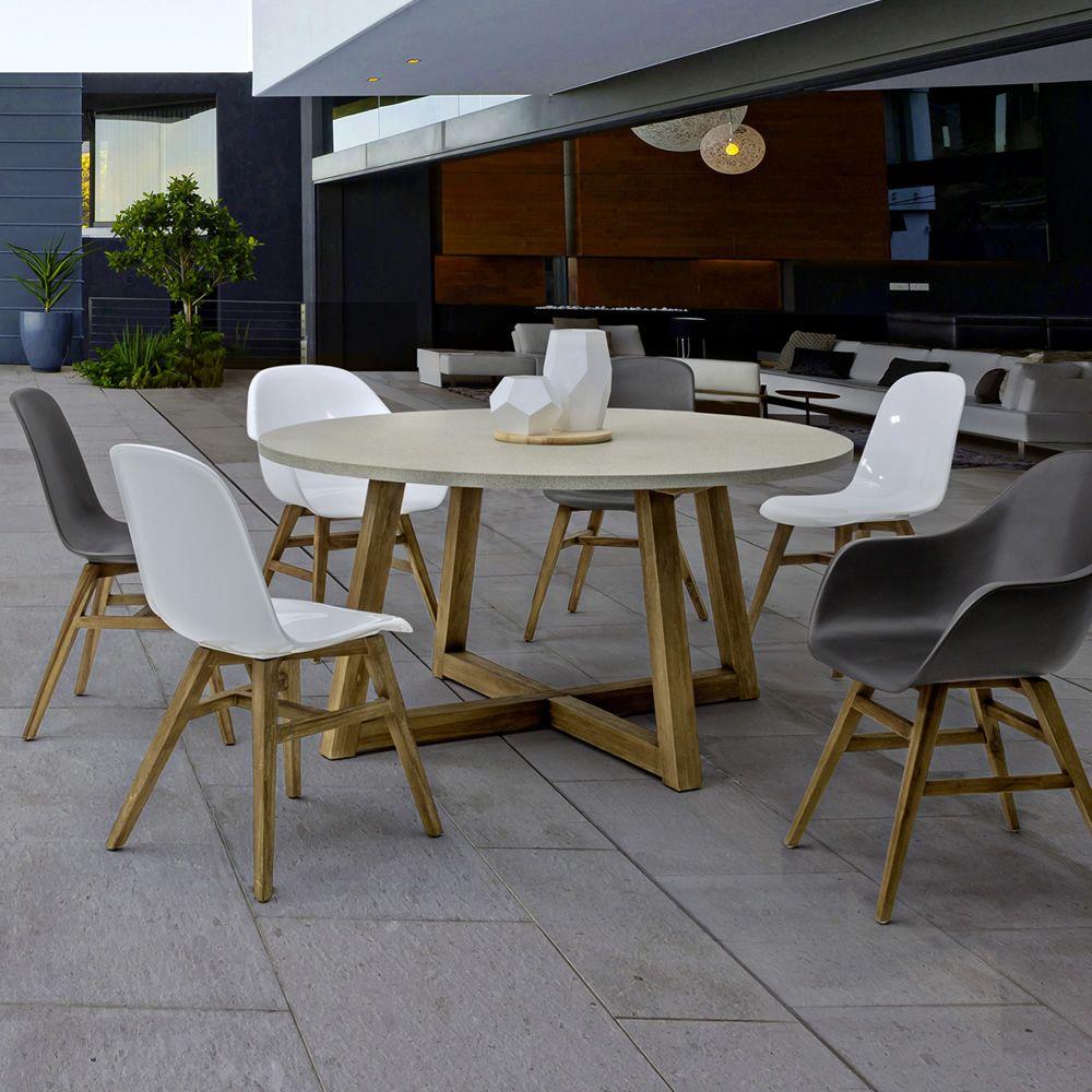 sila t tisch aus teakholz mit platte aus glasfaser durchmesser 150cm auch f r den garten. Black Bedroom Furniture Sets. Home Design Ideas