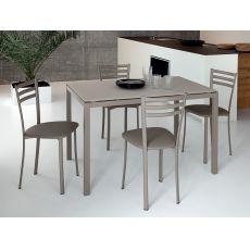 Full - Tisch Domitalia aus Metall, Glasplatte oder Melamineplatte, 120 x 80 cm verlängerbar
