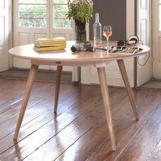 Maria - Tavolo rotondo in legno, fisso ∅ 130 cm, disponibile in diverse essenze