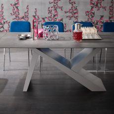 aKille Big - Tavolo di design in legno, fisso 100x180 cm, piano in diversi materiali e finiture