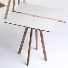 Binario - Tavolo fisso Valsecchi in legno, diverse finiture disponibili, piano quadrato 70 x 70 cm