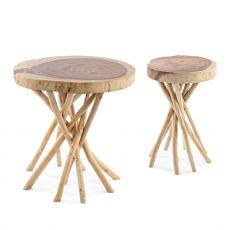 Algeri - Tavolino di design, in legno naturale, disponibile in diverse misure