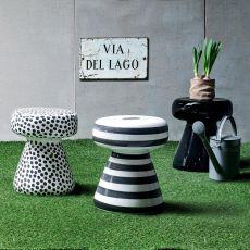 InOut 44 - Tavolino-Pouf Gervasoni, in ceramica, anche per giardino