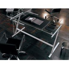 Drive - Scrivania Midj da ufficio in metallo e vetro, diverse misure disponibili