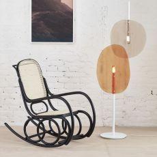 Dondolo - Sedia a dondolo Ton in legno curvato, sedile in paglia di vienna
