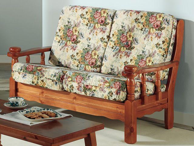 Tirolo divano sof r stico de madera con coj n de 3 o 3 plazas sediarreda - Divani in legno per cucina ...