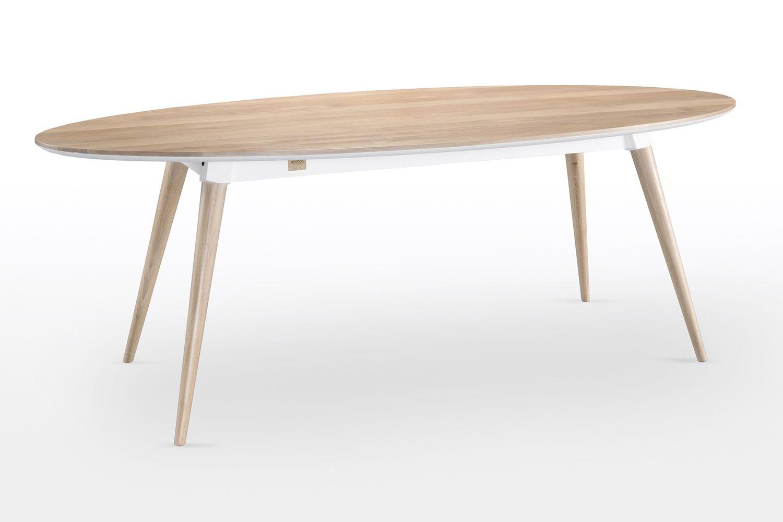in s ovaler holztisch fest 220x105 cm aus. Black Bedroom Furniture Sets. Home Design Ideas