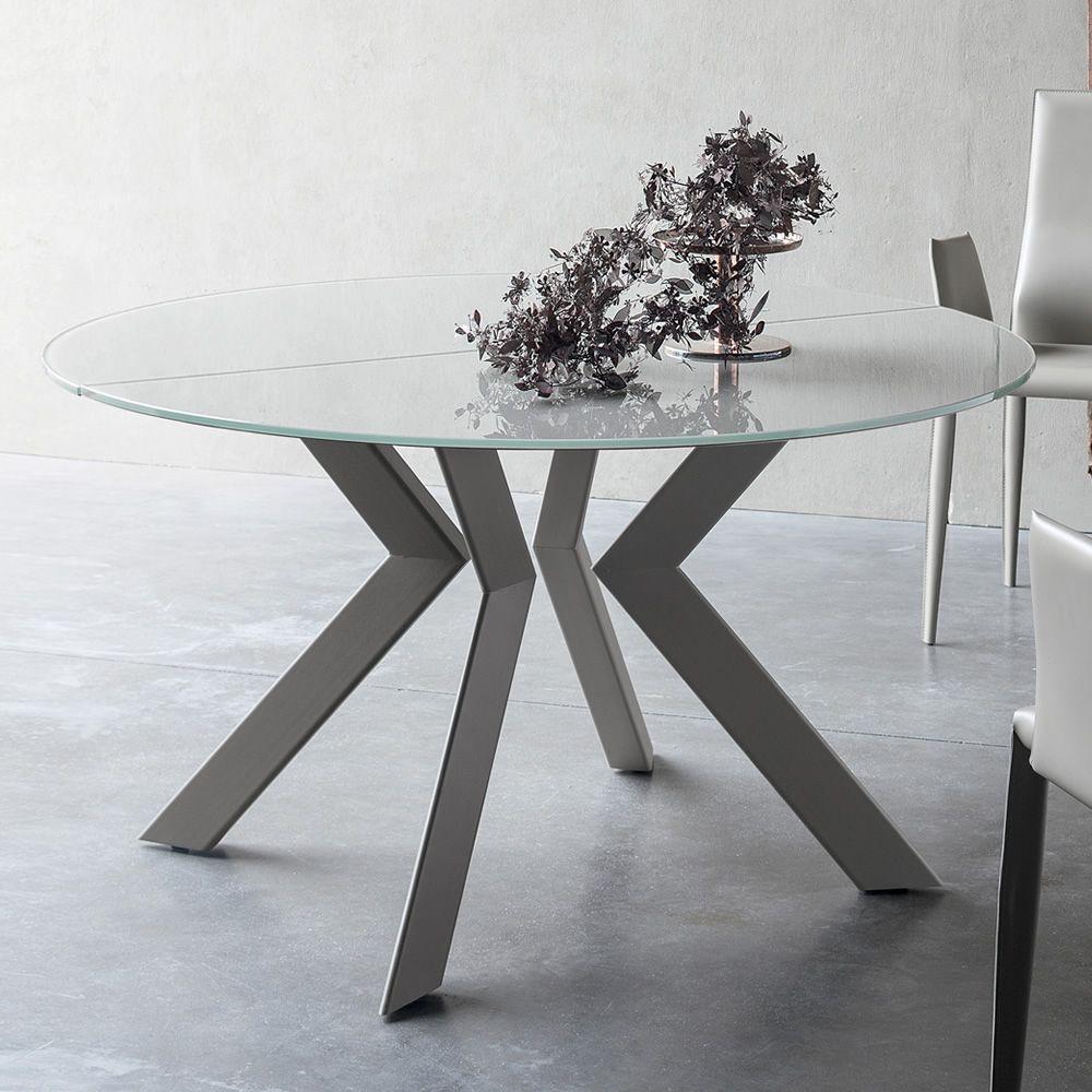 Armenida tavolo di design rotondo fisso o allungabile for Tavolo design vetro