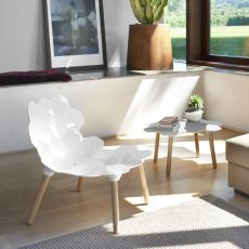 Tarta - Slide wooden chair with polyurethane seat, different colours available