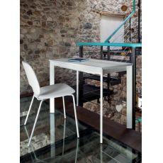 Mondo - Consolle Domitalia in metallo, piano in vetro, 100 x 50 cm allungabile