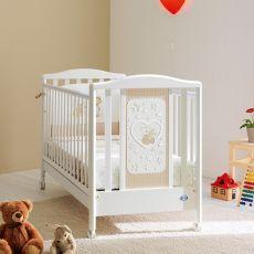 Belle - Lettino Pali in legno con materasso, guanciale e set letto, rete a doghe regolabile in altezza