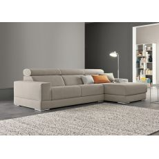 Jack-P - 2, 3 or 3XL seater sofa with chaise longue, sliding seats and reclining headrest, totally removable covering, different upholsteries and colors available
