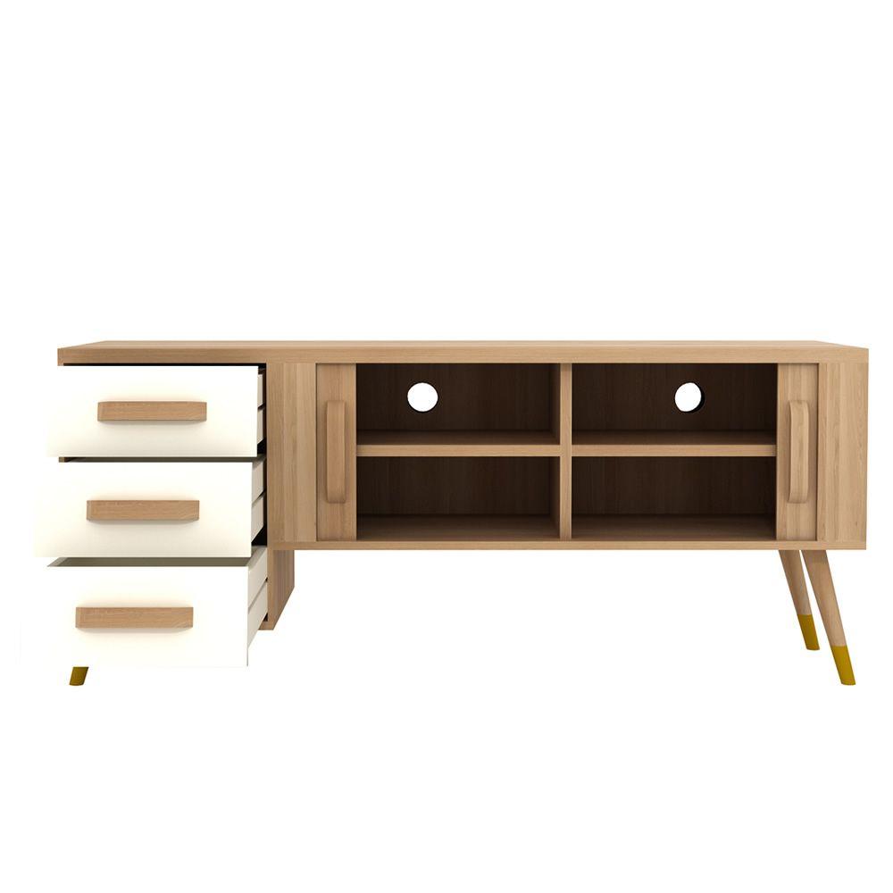 Origami tv meuble salon porte tv ethnicraft en bois for Meuble tiroir salon