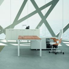 Office X8 01 - Executive desk with service cabinet, in metal and laminate, available in different dimensions and finishes