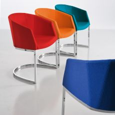 So Chic SL P - Designer small armchair Chairs&More, in metal with upholstered seat, available in different colours