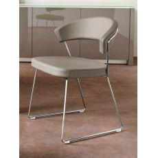 CB1022-SK New York - Stuhl Connubia - Calligaris aus Metall, mit Bezug aus Kunstleder, verschiedene verfügbare Farben