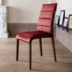 7218 Portofino - Tonin Casa wooden chair, seat covered with leather or imitation leather, different colours available