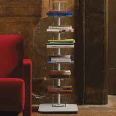 Ziadele - Libreria da terra in metacrilato trasparente e metallo, diverse altezze e colori disponibili