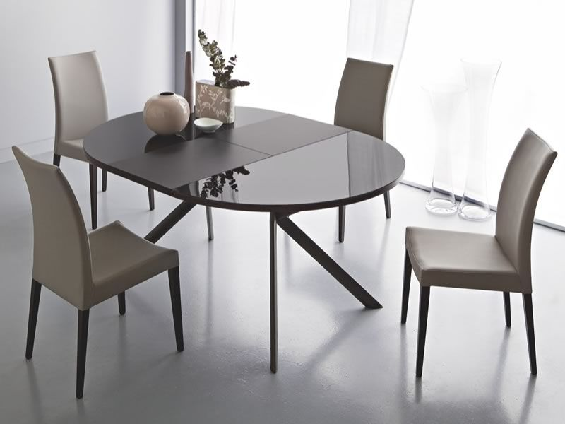 738 tavolo tondo in metallo piano in vetro diametro 120 cm allungabile sediarreda - Tavolo rotondo vetro diametro 120 ...