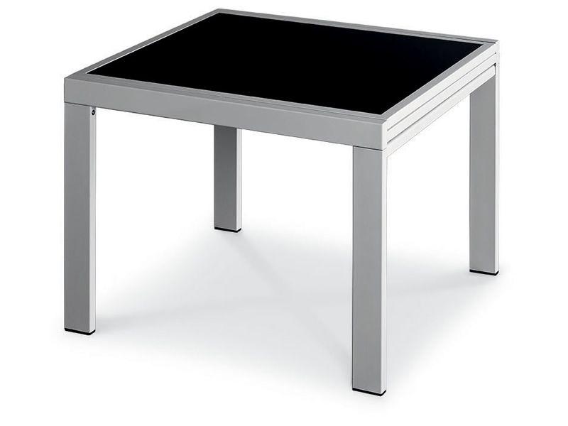 Vr90 table peinte couleur aluminium et plateau en verre noir - Table 90x90 avec rallonge ...