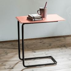 Apelle CT - Tavolino Midj in metallo e cuoio naturale