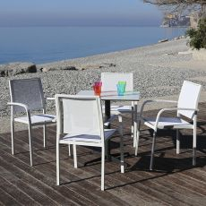 Pearl - Stackable chair with armrest, in aluminium, seat and backrest in net, different colours, for outdoor