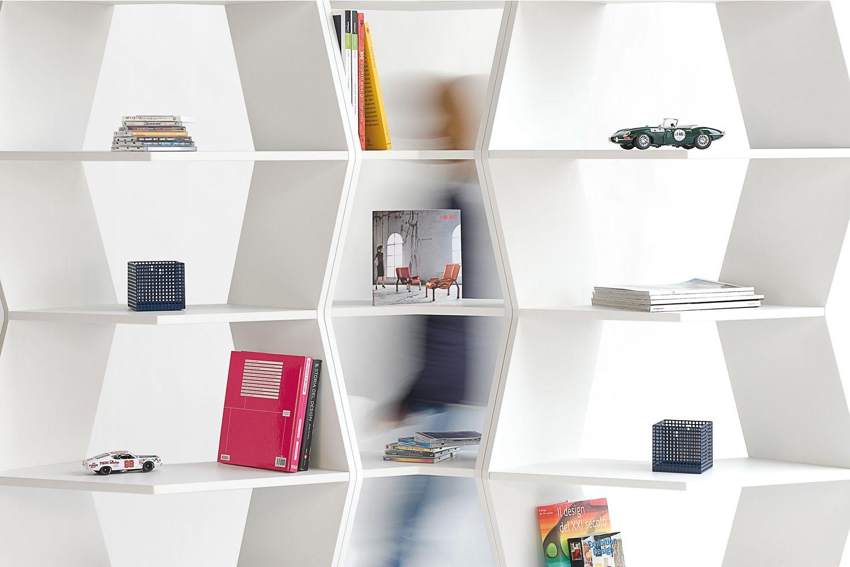 Parete Attrezzata Zig Zag : Zig zag libreria modulare di design b line in mdf bianco