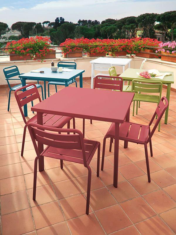 star per bar e ristoranti - sedia in metallo per esterno ... - Metallo Patio Tavolo E Sedie Rotondo
