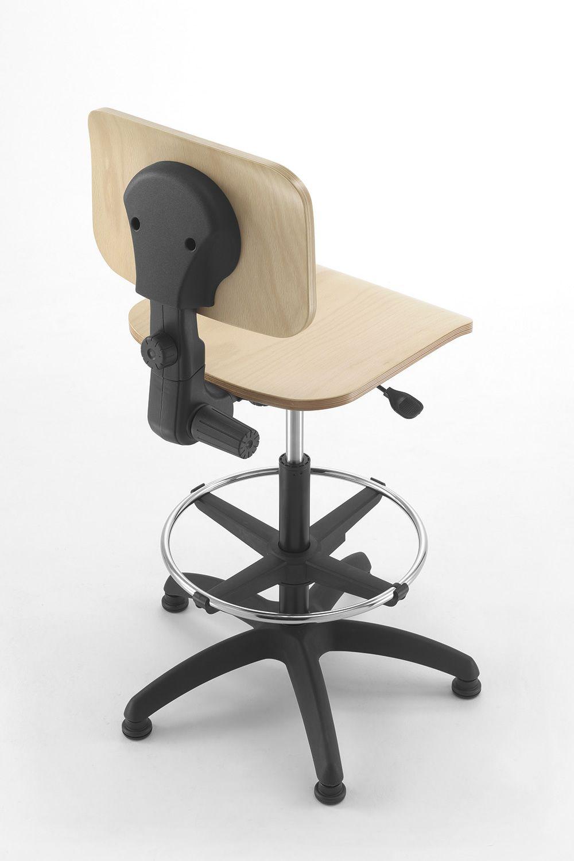 Ml349 st taburete de trabajo para oficina con asiento de madera regulable sediarreda - Asientos para taburetes ...