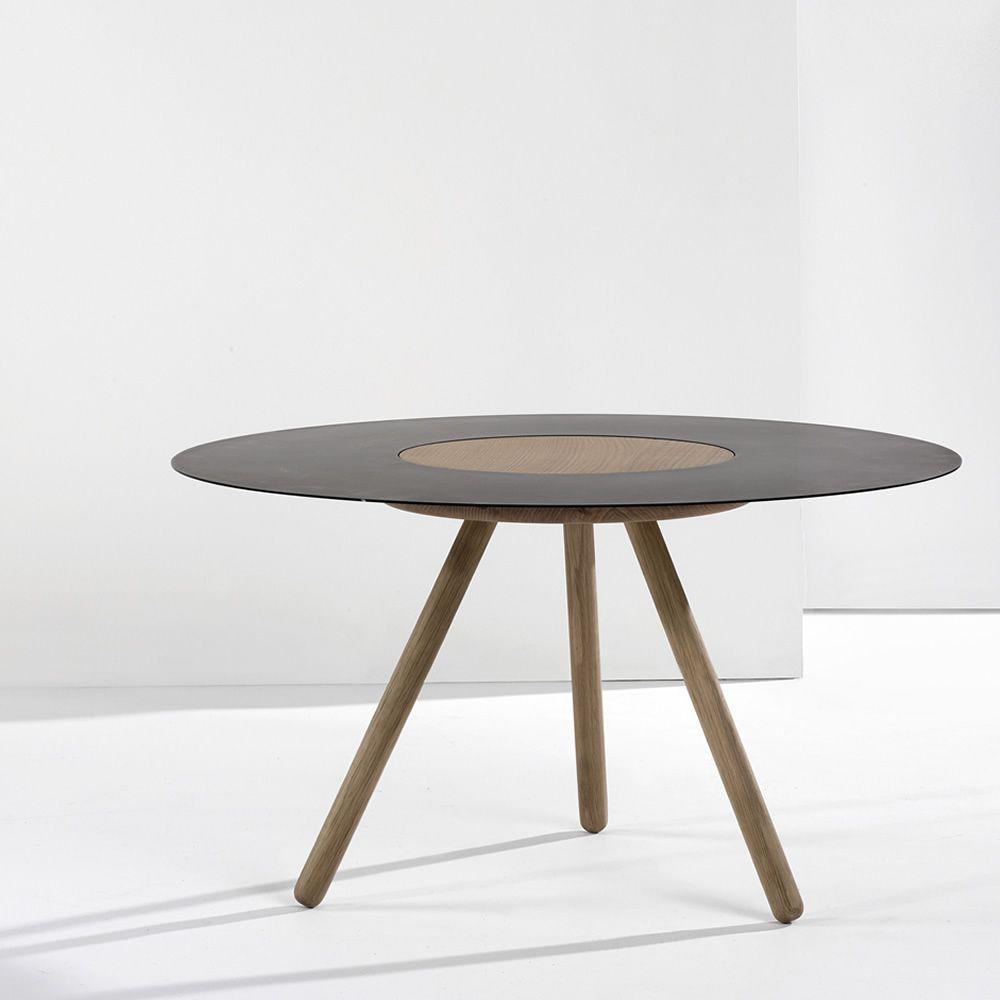 Sputnik table basse ronde universo positivo en bois et - Table basse en bois noir ...