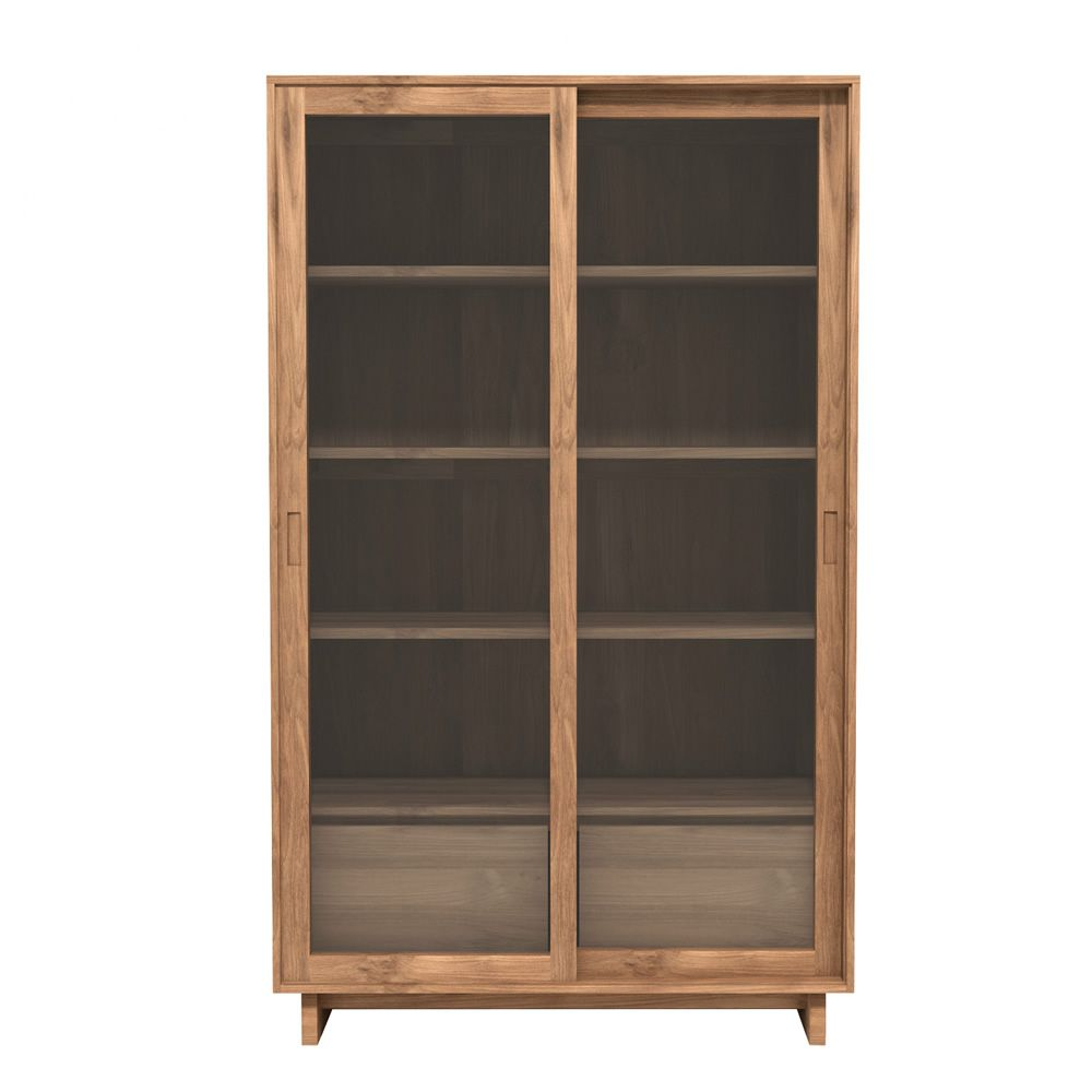 wave g vitrine ethnicraft en bois portes coulissantes en verre et tiroirs disponible en. Black Bedroom Furniture Sets. Home Design Ideas