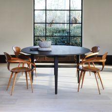 Blackstone Ellipse - Tavolo fisso Ethnicraft in legno di rovere tinto nero, piano ellittico 246 x 154 cm