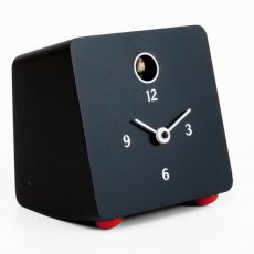 Fido - Table cuckoo clock, in wood varnished black or white colour
