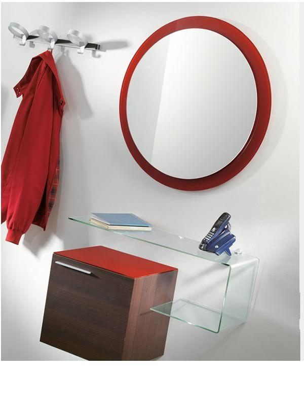 Flexi d composizione mobile da ingresso con specchio mobile e mensola in vetro sediarreda - Specchio con mensola per ingresso ...