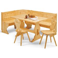 AV GIROPANCA - Country style angular bench in pine wood, several sizes