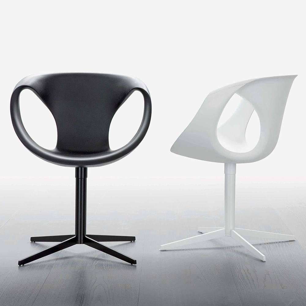 Up Chair 2   Modern Chair With Black Or White Steel Structure And  Polyrethane Seat By