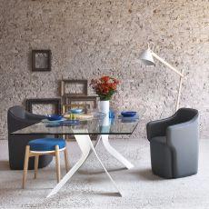 Bipede - Tavolo Miniforms in metallo, piano in vetro, diverse dimensioni disponibili