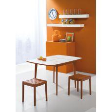 730 - 3 - Table en bois, plateau en laminé 90 x 90 cm à rallonge