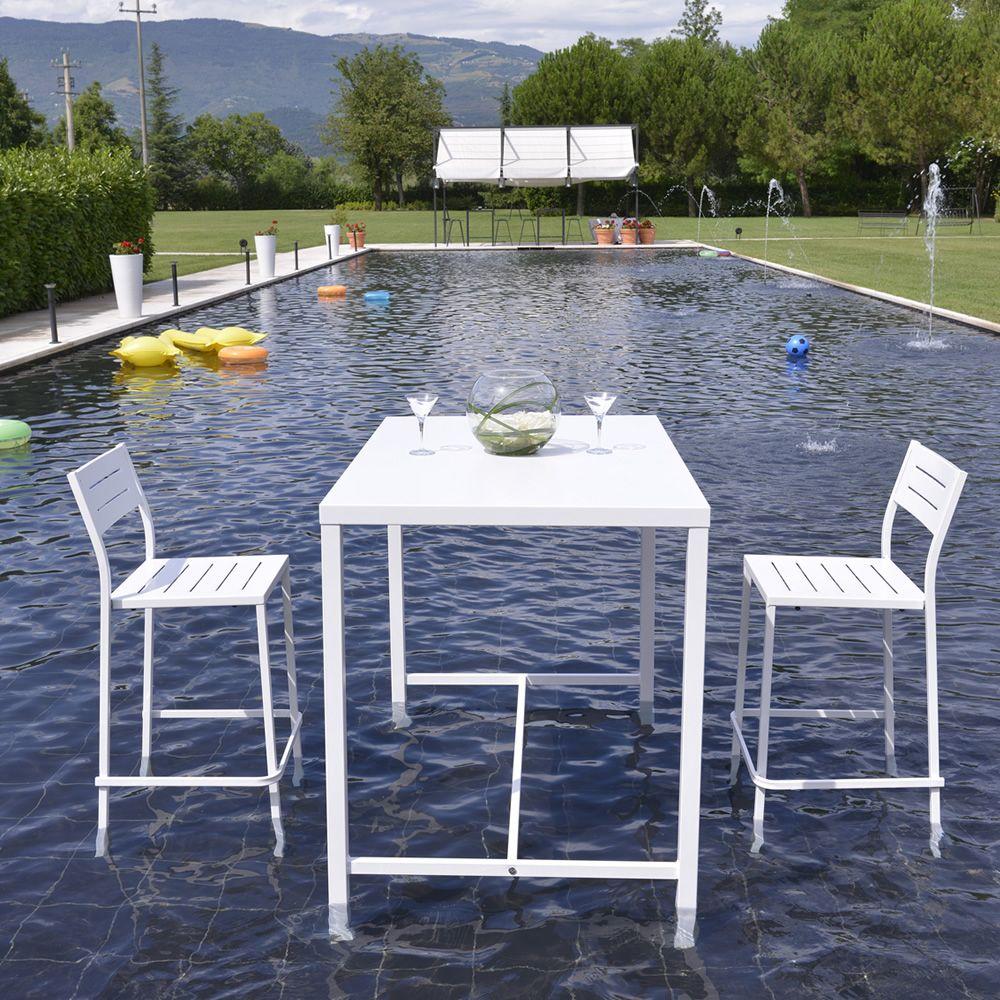 RIG72TH - Tavolo alto in metallo bianco, per giardino, abbinato a ...