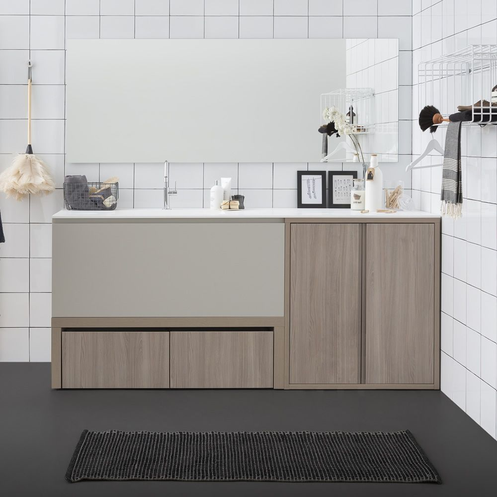 Acqua e Sapone E | Sink cabinet with structure in rope colour elm and deep drawer in matt hemp colour, matching with Filo Lucido mirror and Sapone S drying rack wall unit