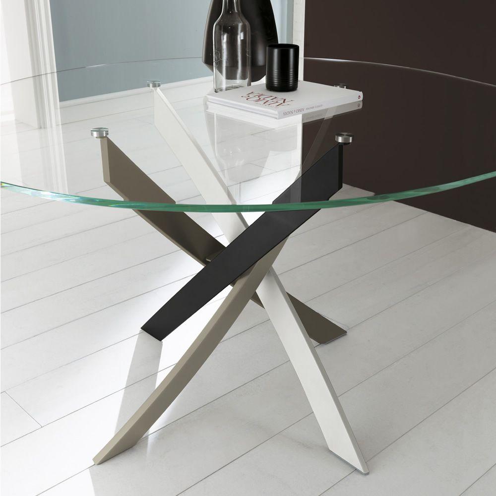 barone runder designer tisch bontempi casa feststehend durchmesser 120 cm mit zentralem. Black Bedroom Furniture Sets. Home Design Ideas