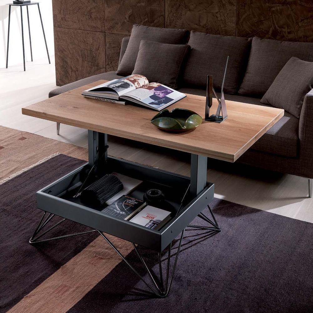 Radius petite table transformable et relevable en deux hauteurs en m tal p - Table basse transformable but ...