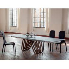 Arpa 8002 - Mesa extensible Tonin Casa de madera con sobre de cristal, en distintos acabados y medidas