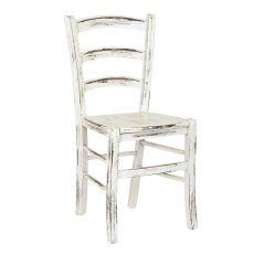 110 Scratch - Chaise rustique en bois, laqué blanc à finition rayée, assise en bois ou rembourrée et revêtue en simili cuir